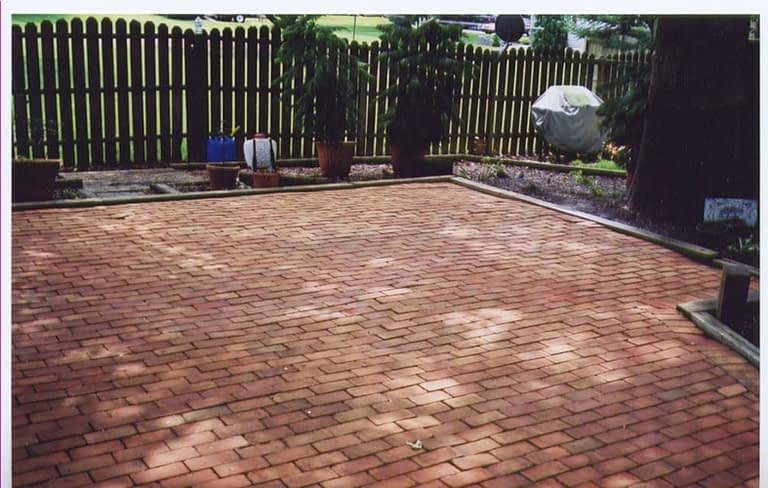 brick paver patio after cleaning
