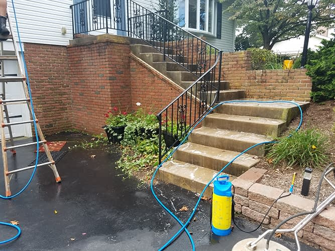 before cleaning concrete and brick