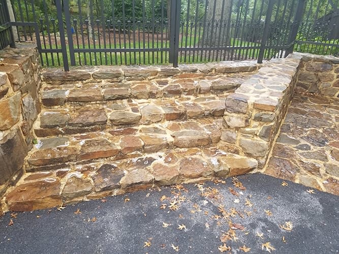 dirty stone to be pressure washed